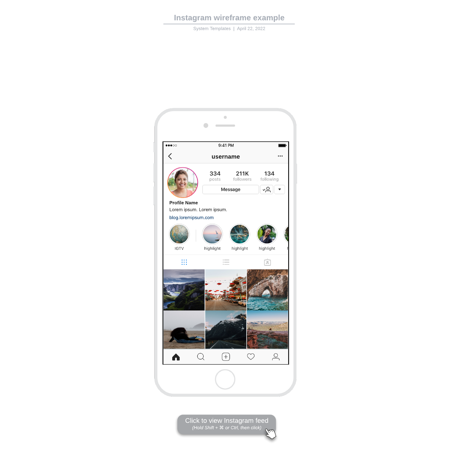 Instagram wireframe example