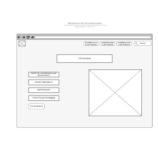 Wireframe für Anmeldeseiten - Beispiel