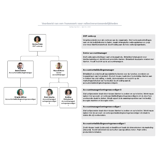 Voorbeeld van een framework voor rollen/verantwoordelijkheden
