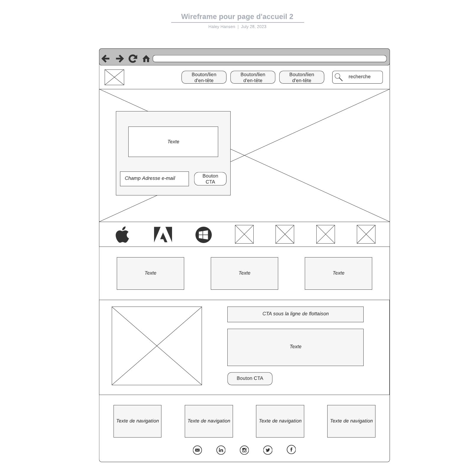 exemple de wireframe pour page d'accueil