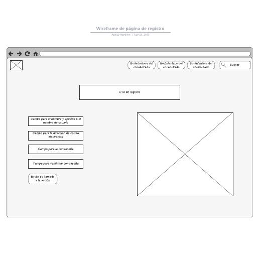 Wireframe de página de registro