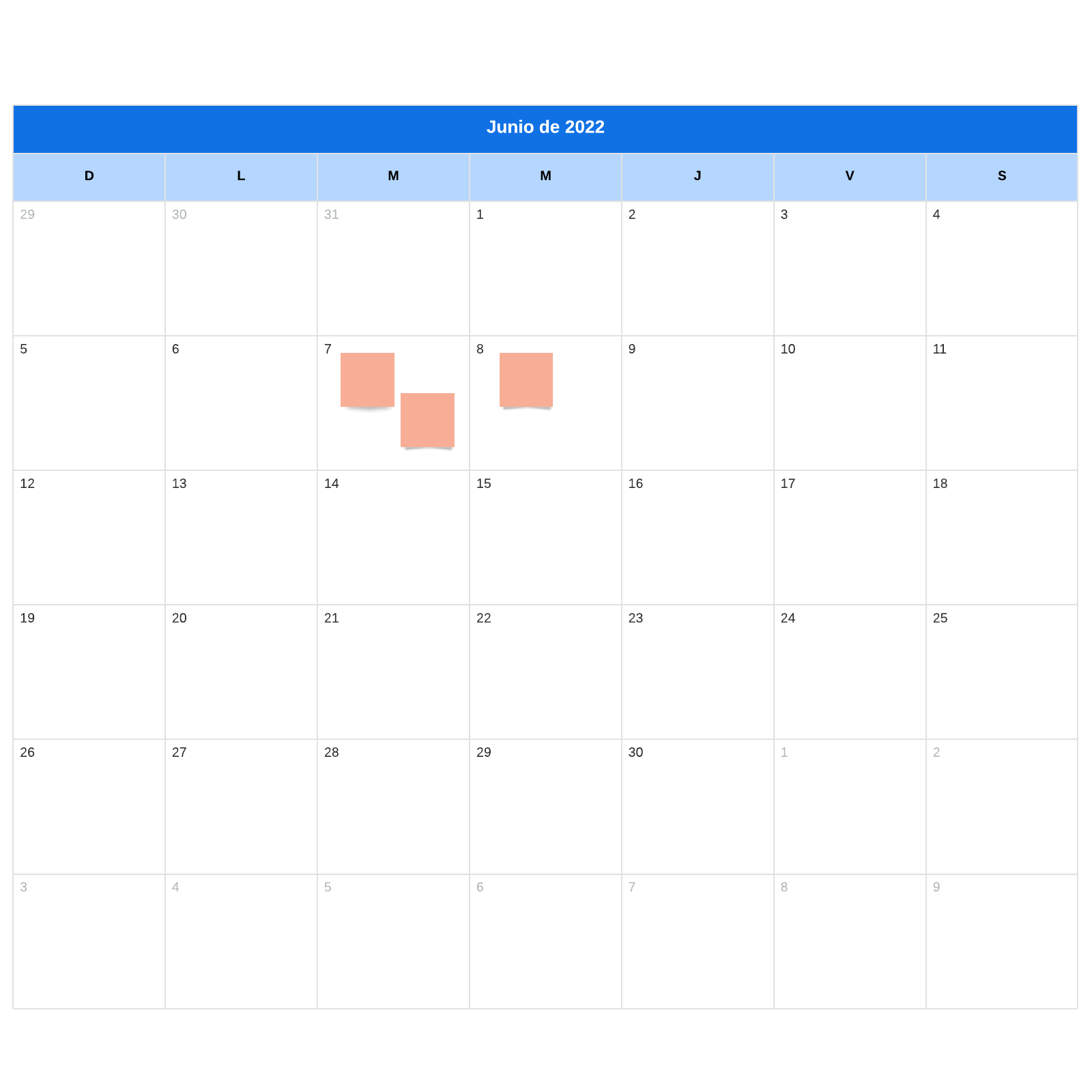 plantilla de calendario mensual