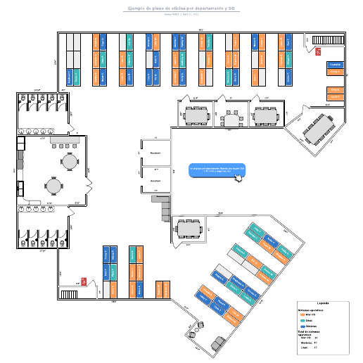 Ejemplo de plano de oficina por departamento y SO