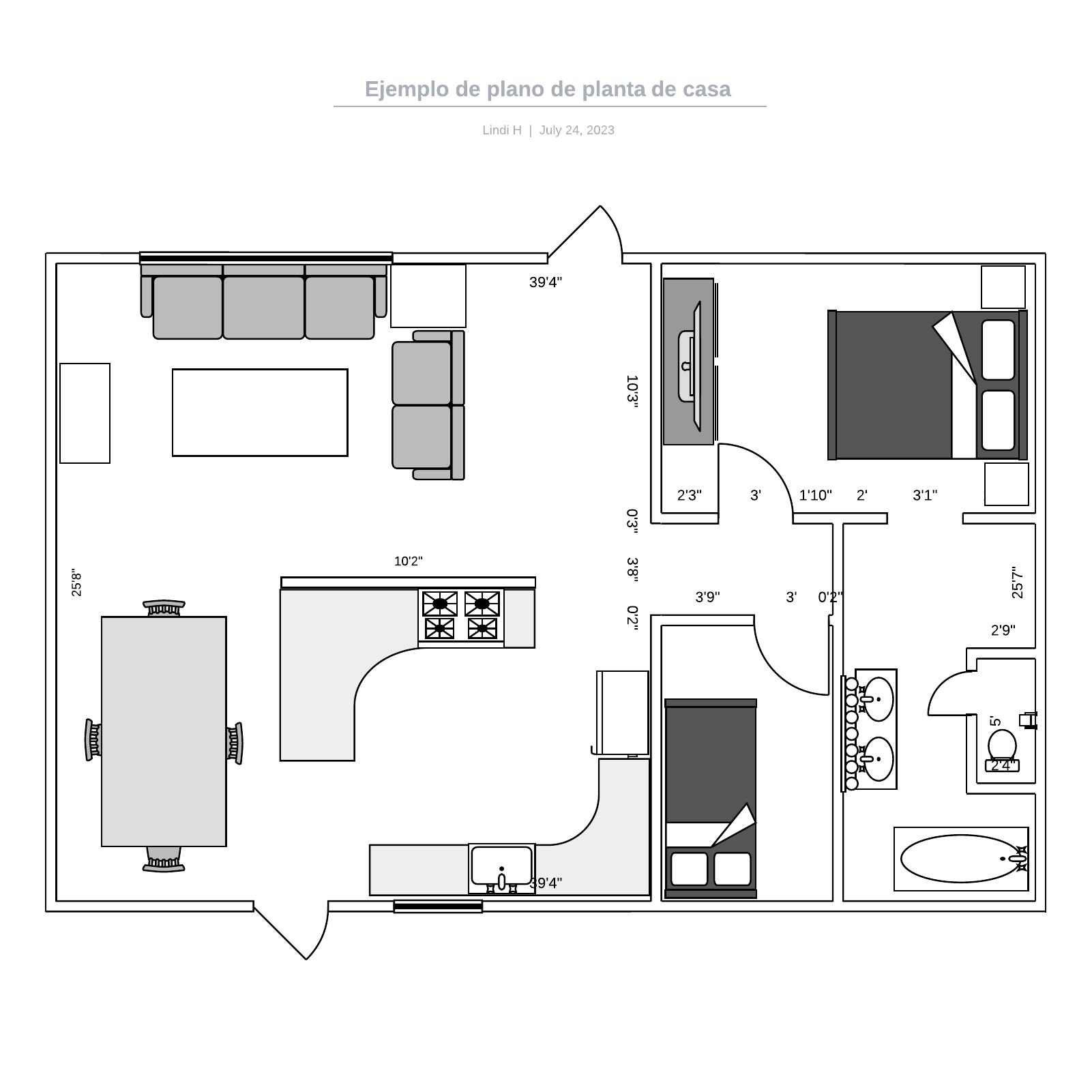 Ejemplo de plano de planta de casa