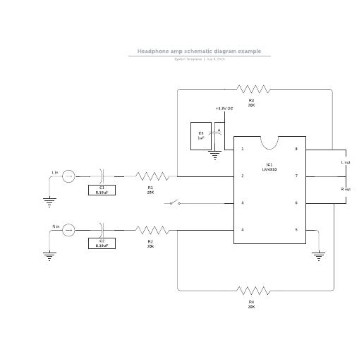 Headphone amp schematic diagram example