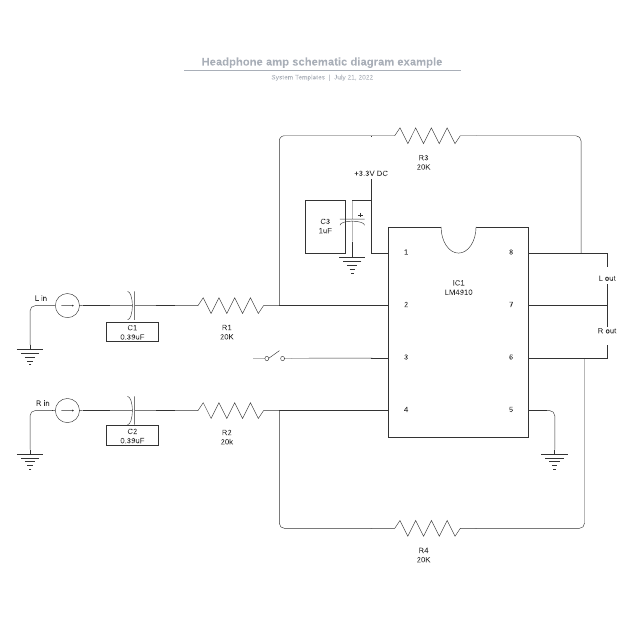 Headphone amp schematic diagram example