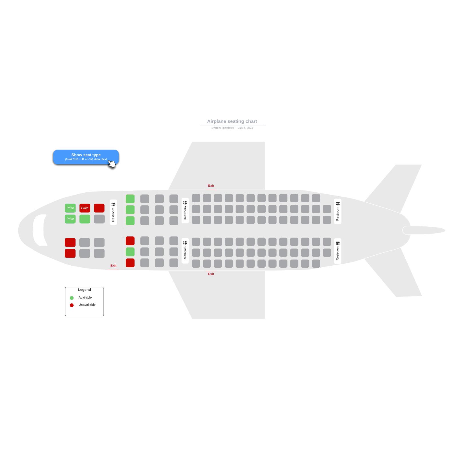 Airplane seating chart