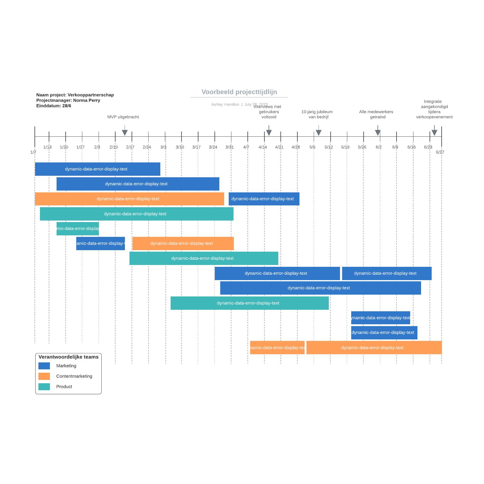 Voorbeeld projecttijdlijn