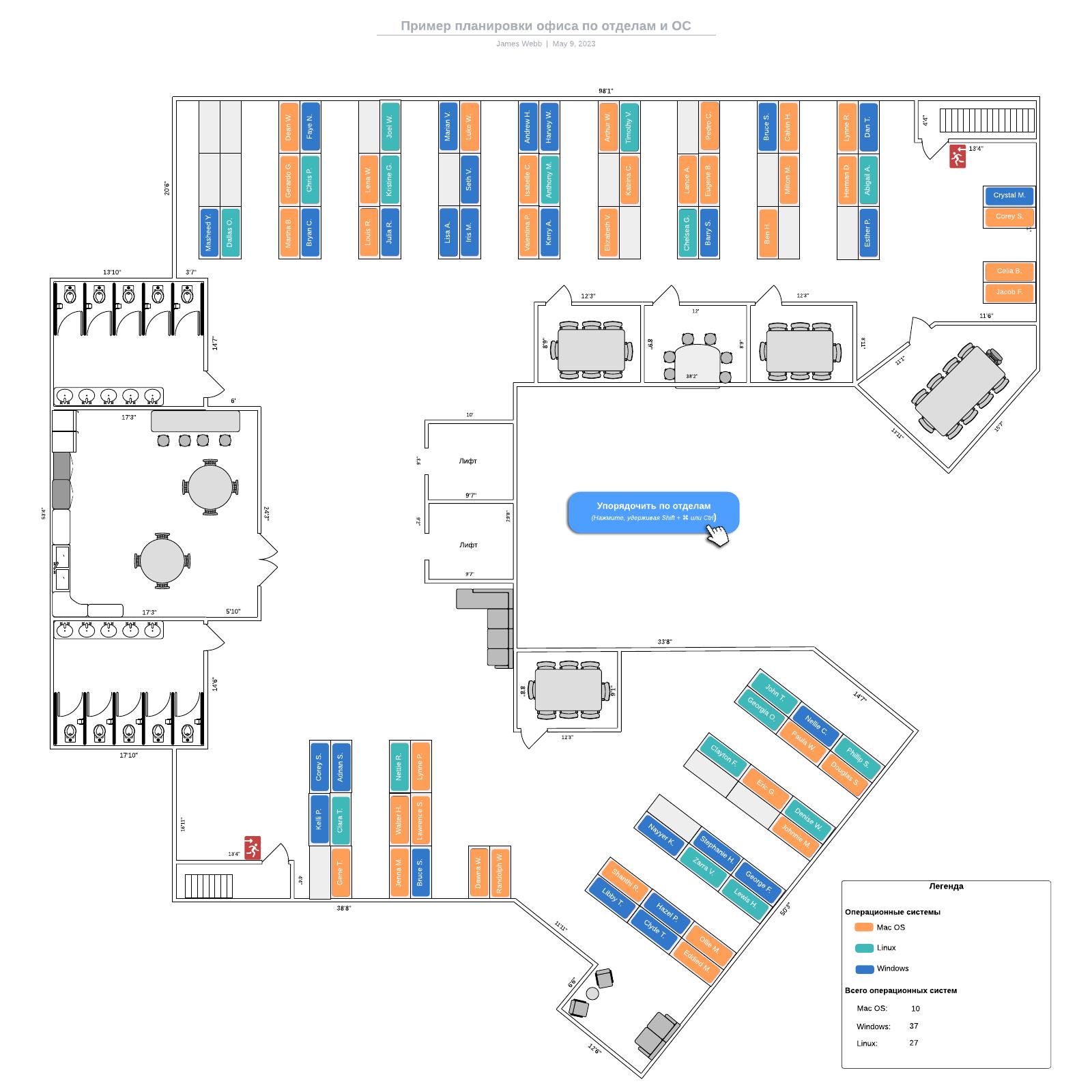Пример планировки офиса по отделам и ОС