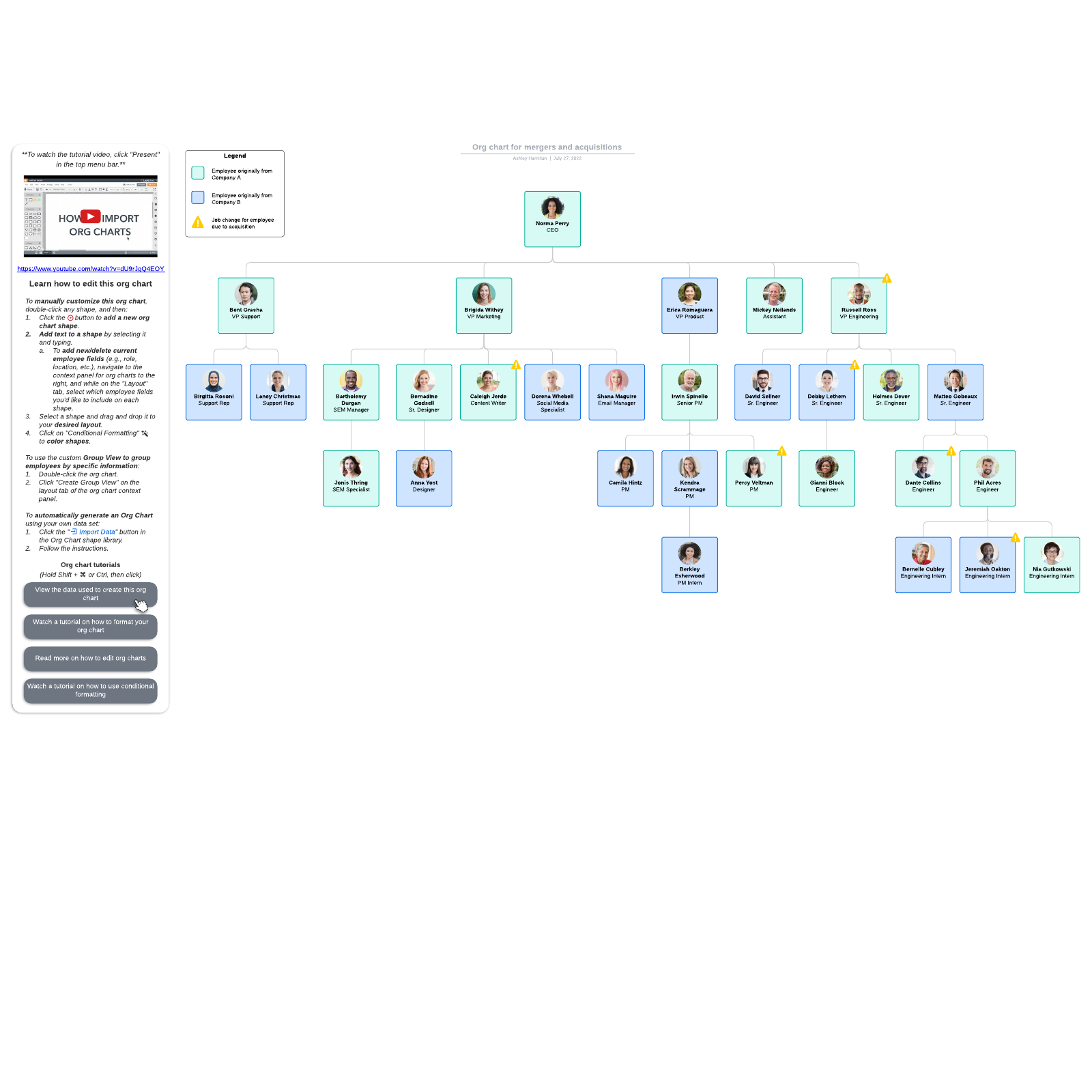 Org chart for mergers and acquisitions