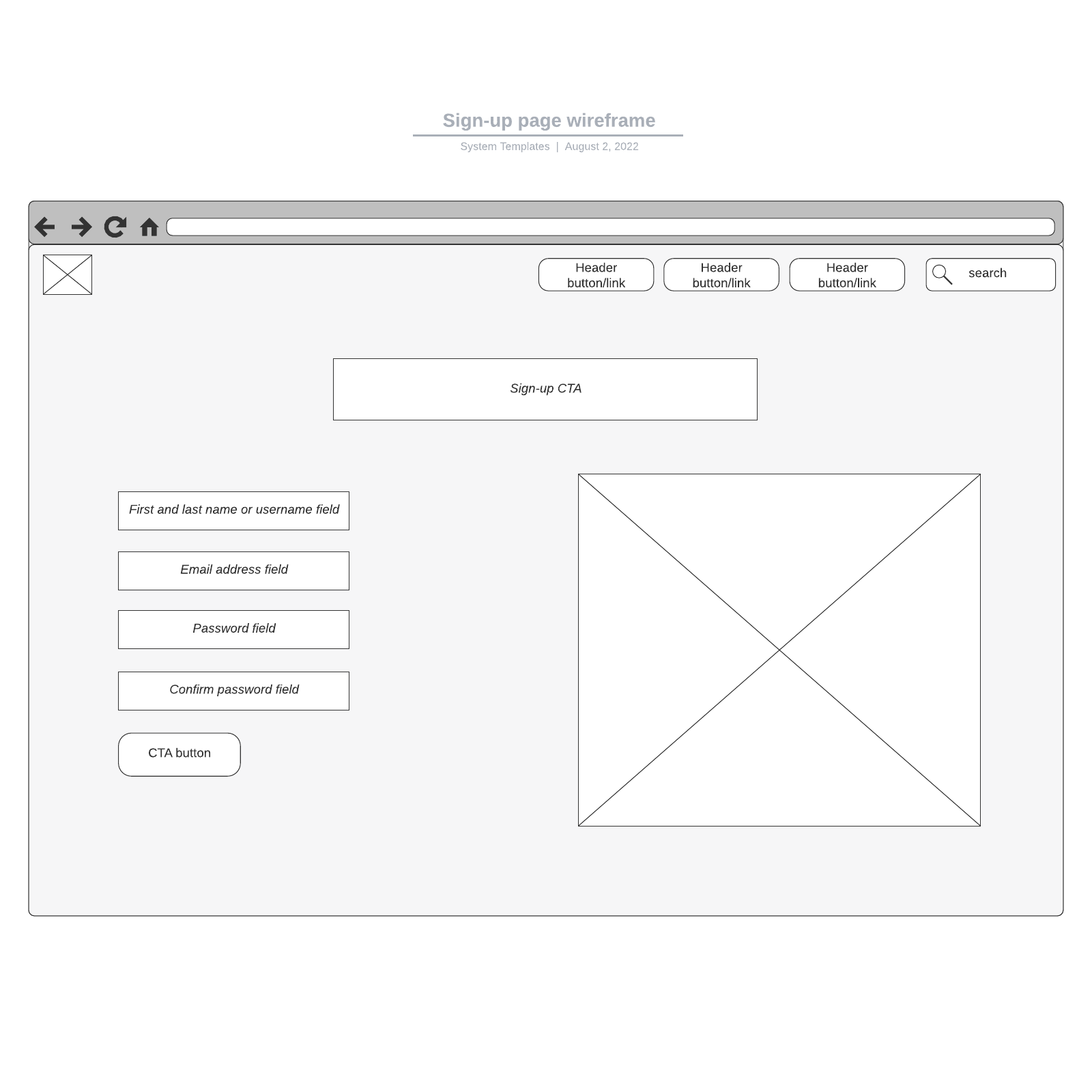 Sign-up page wireframe