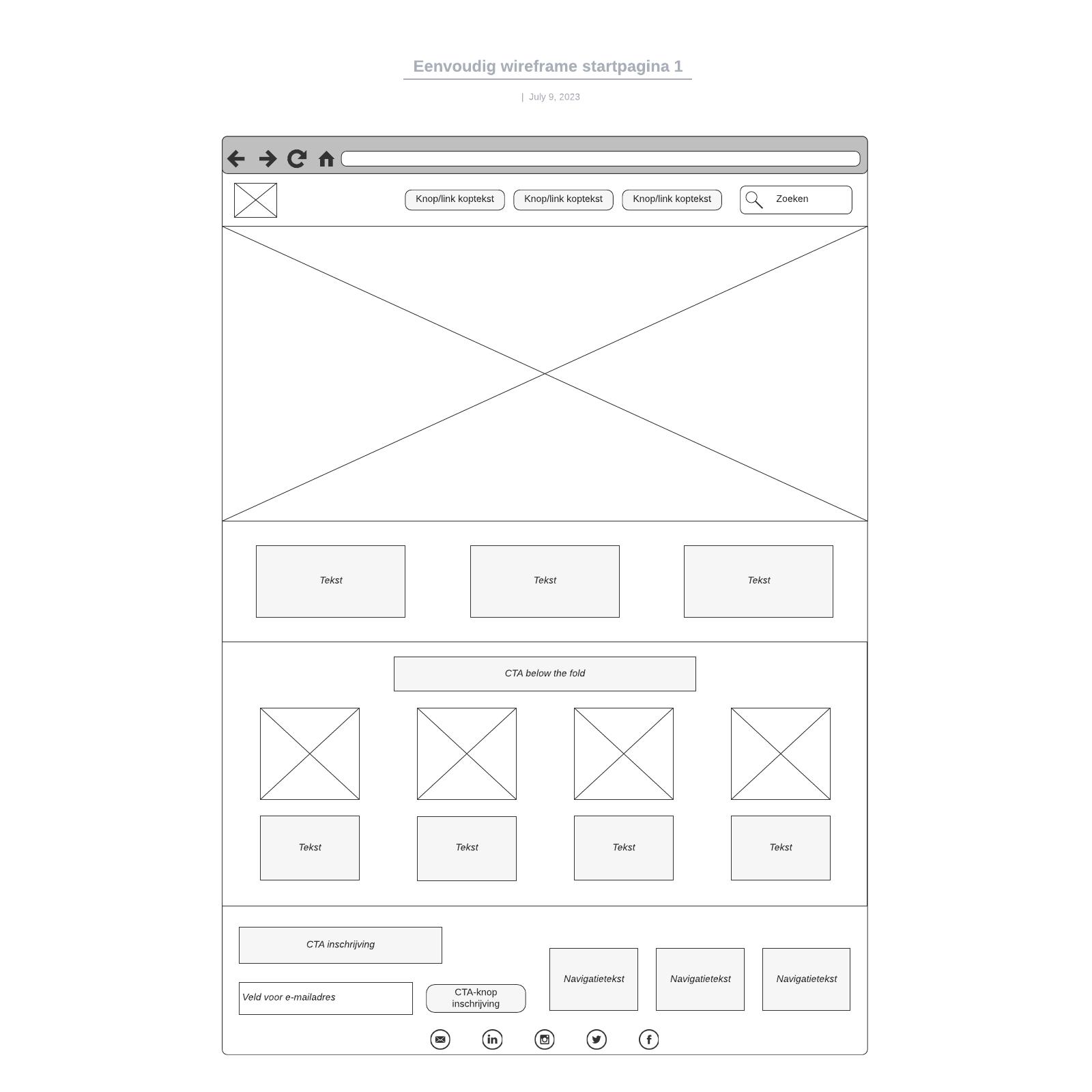 Eenvoudig wireframe startpagina 1