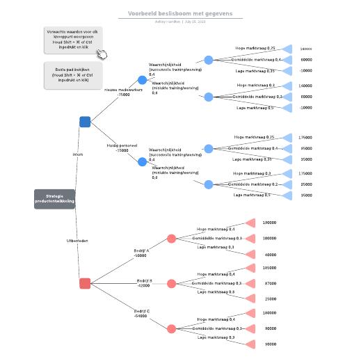 Voorbeeld beslisboom met gegevens