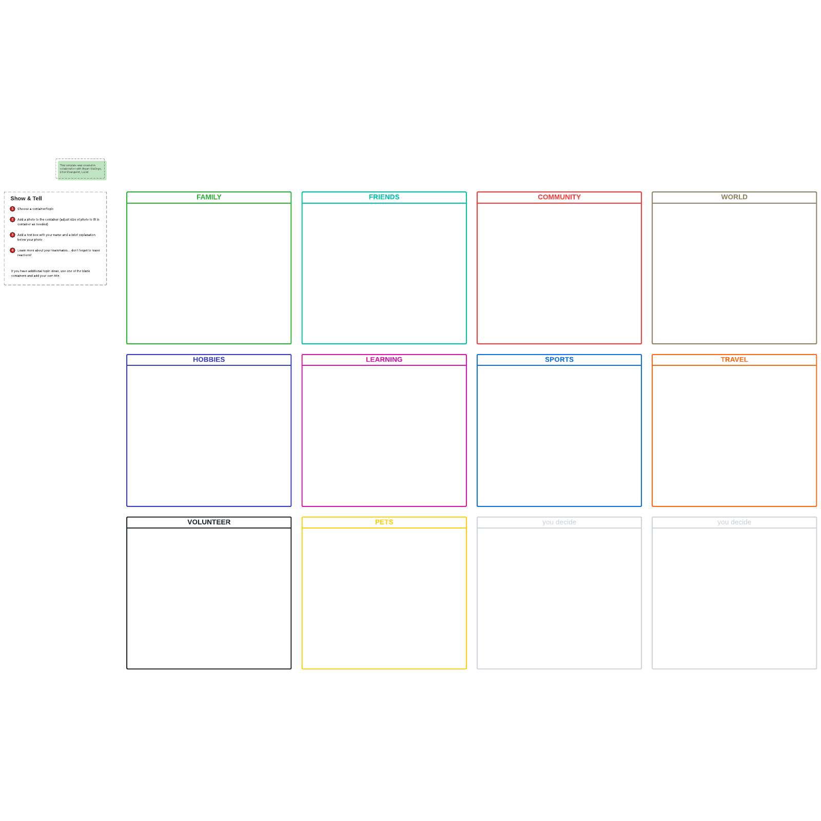 Show-and-tell icebreaker template
