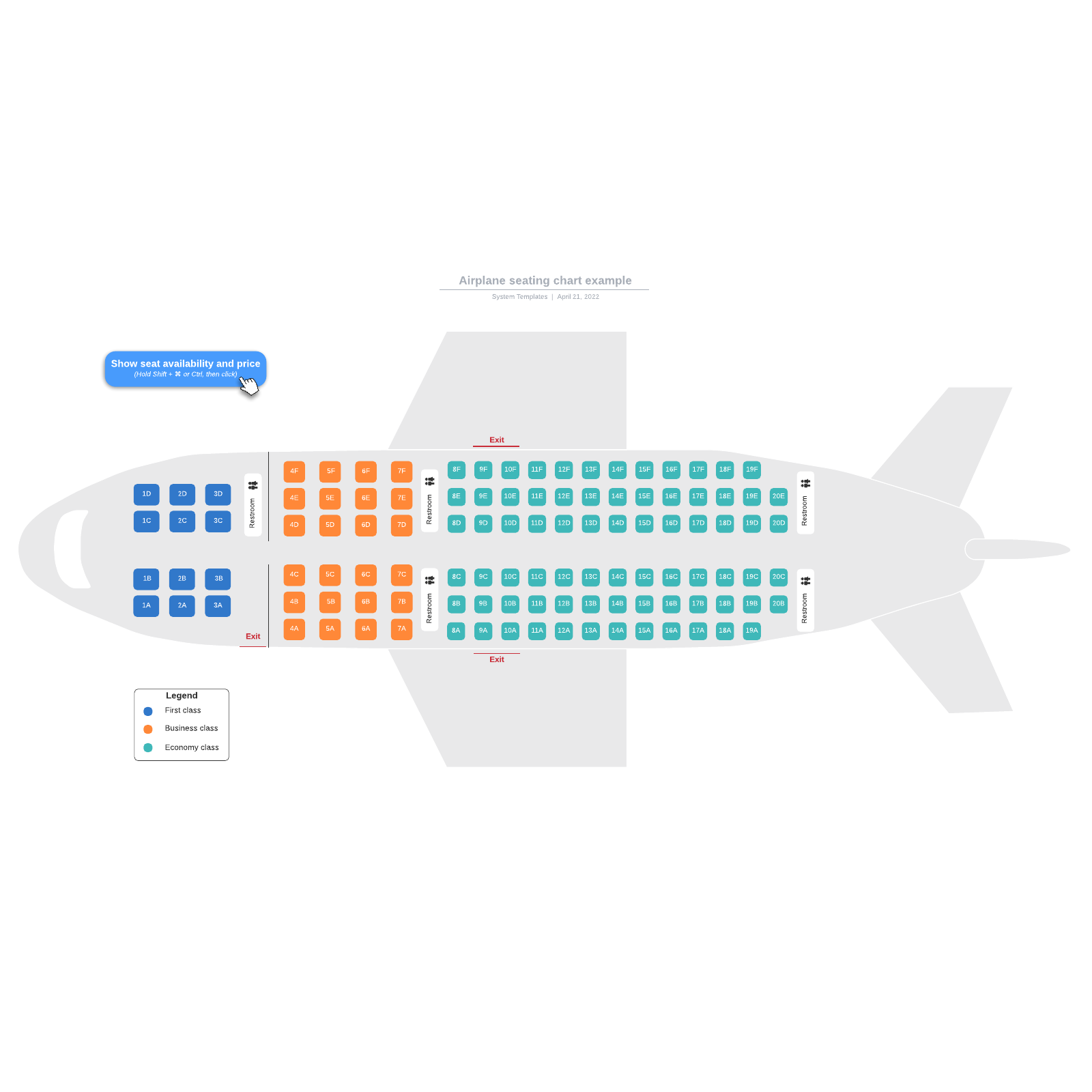 Airplane seating chart example