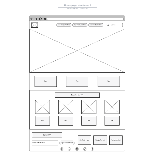 Home page wireframe 1