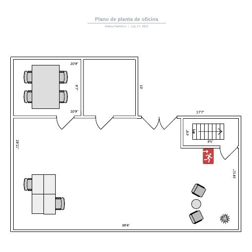 Plano de planta de oficina