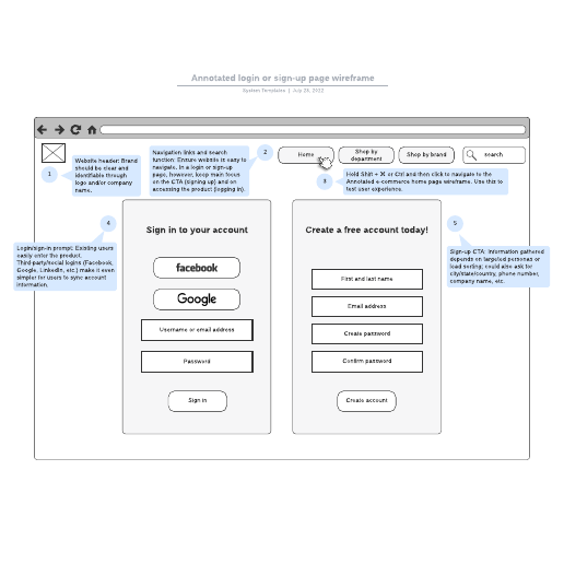 Annotated login or sign-up page wireframe