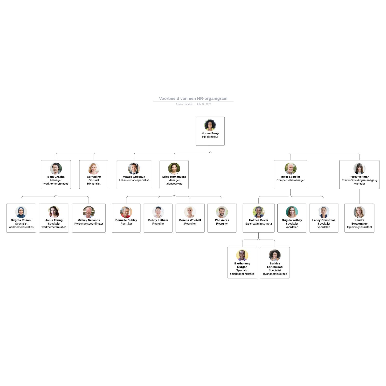 Voorbeeld van een HR-organigram
