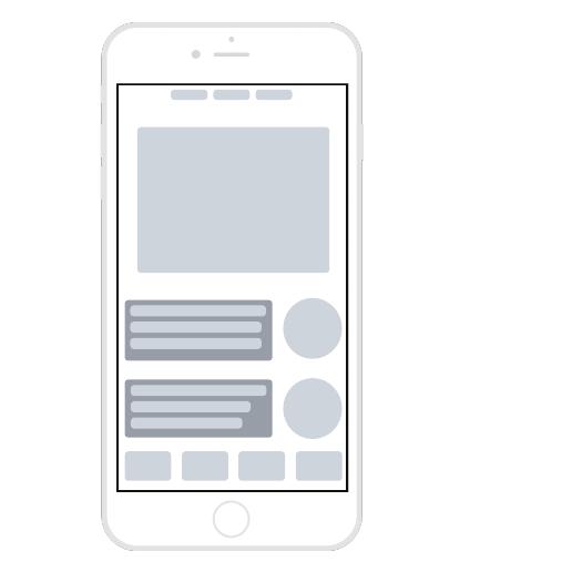 Wireframesjabloon voor mobiele app