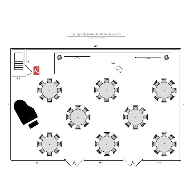 Ejemplo de plano de planta de evento