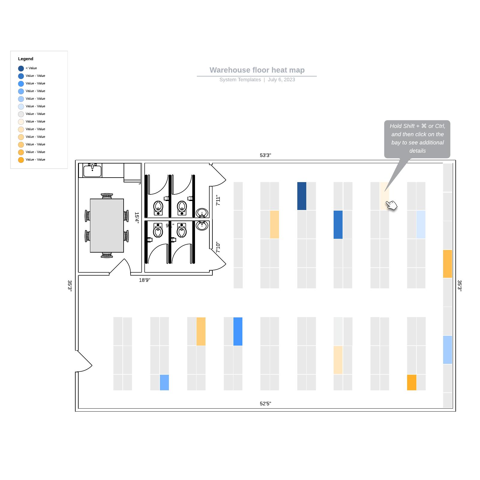 Warehouse floor heat map