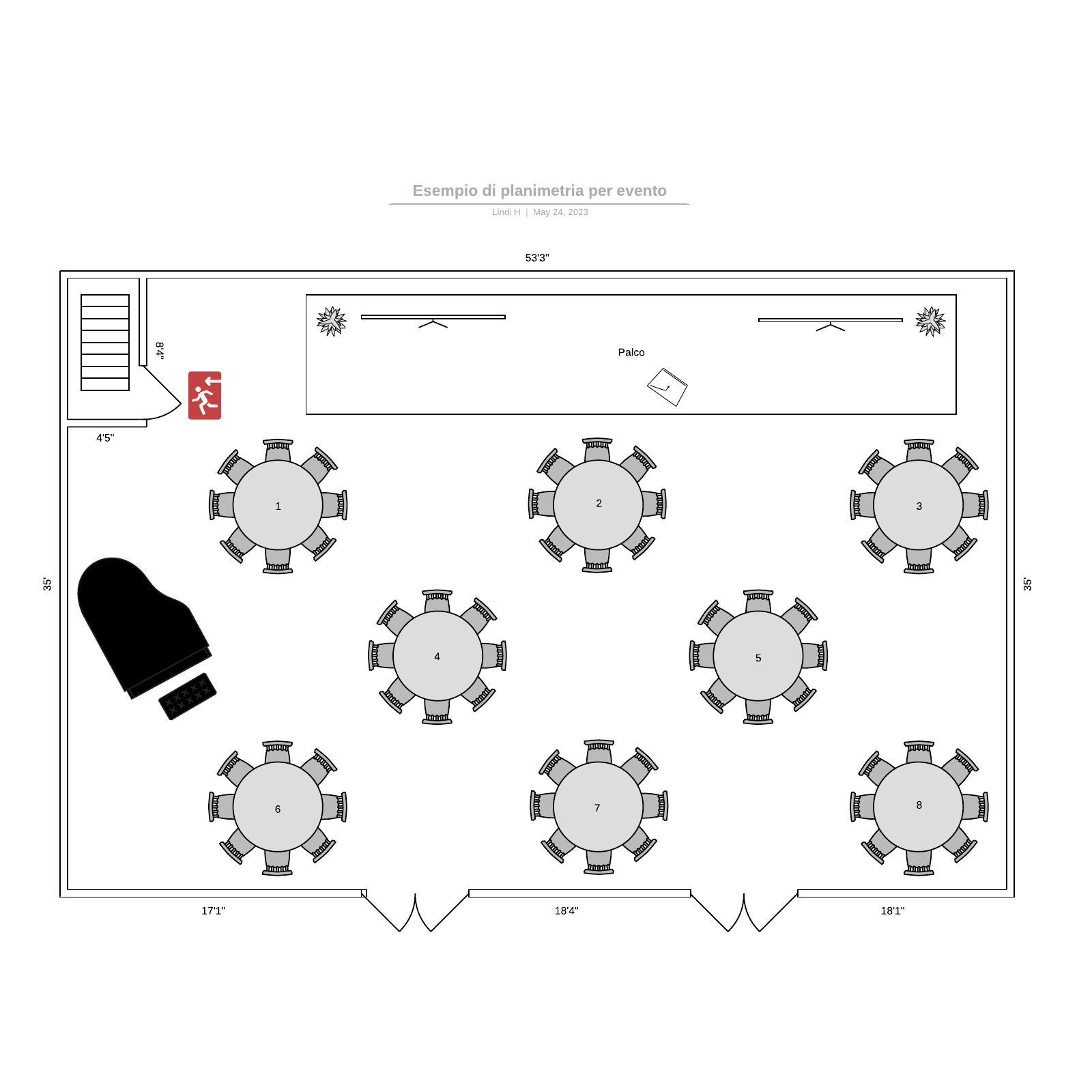 Esempio di planimetria per evento