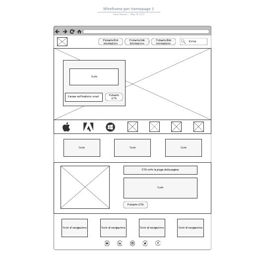 Wireframe per homepage 2