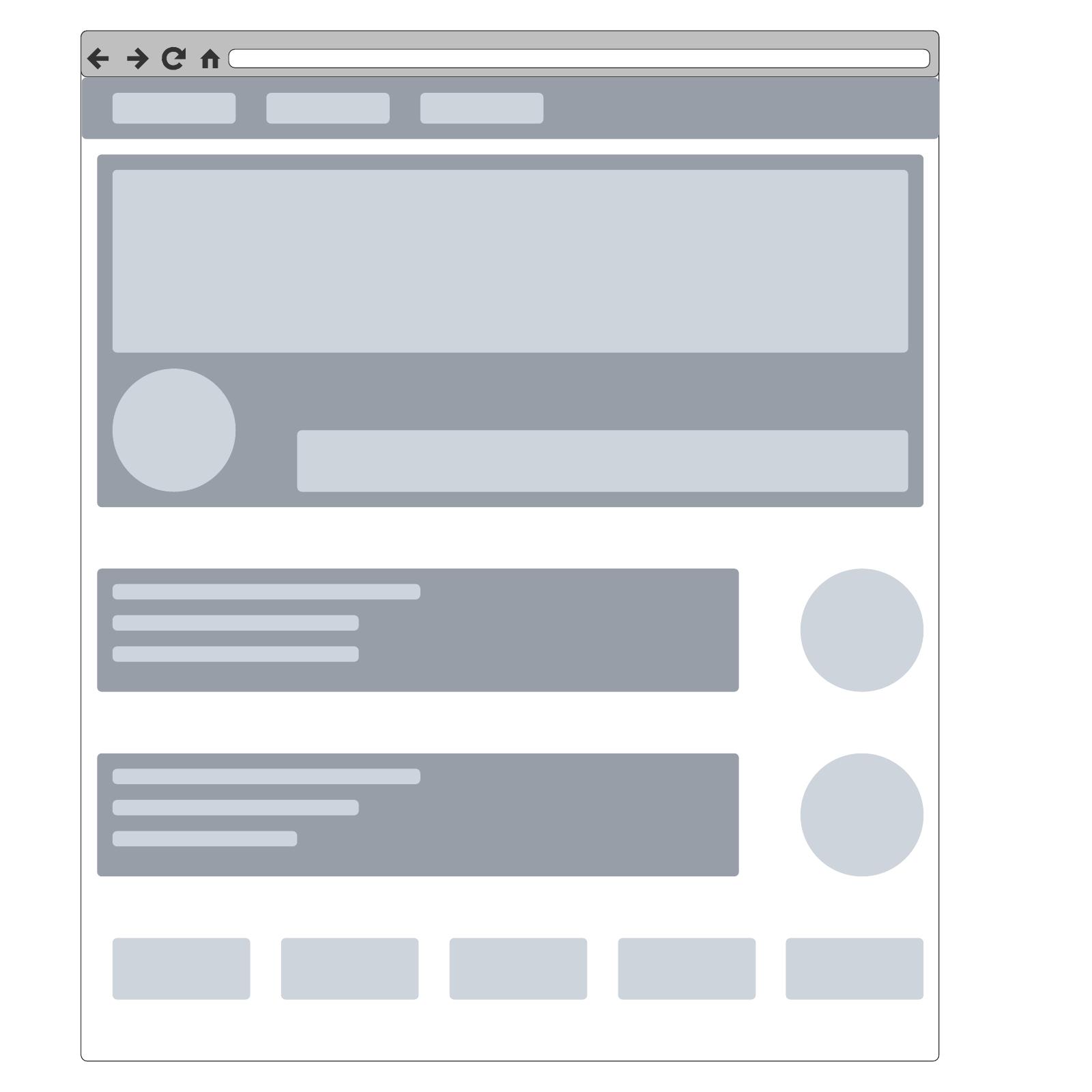 Modello di wireframe per sito web