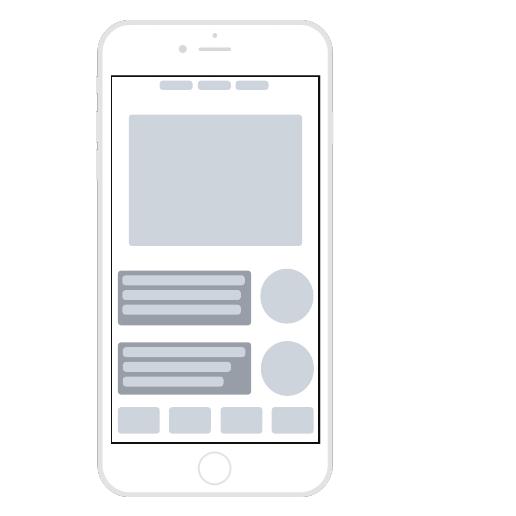 Modello di wireframe per app mobile