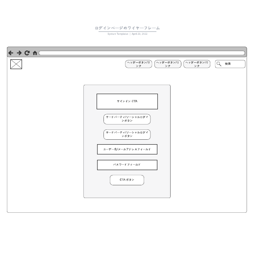 Webサイトのログインページデザインワイヤーフレームサンプル