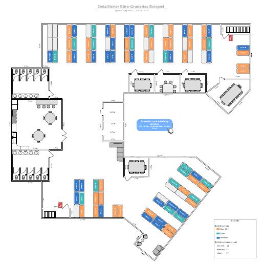 Detaillierter Büro-Grundriss - Beispiel