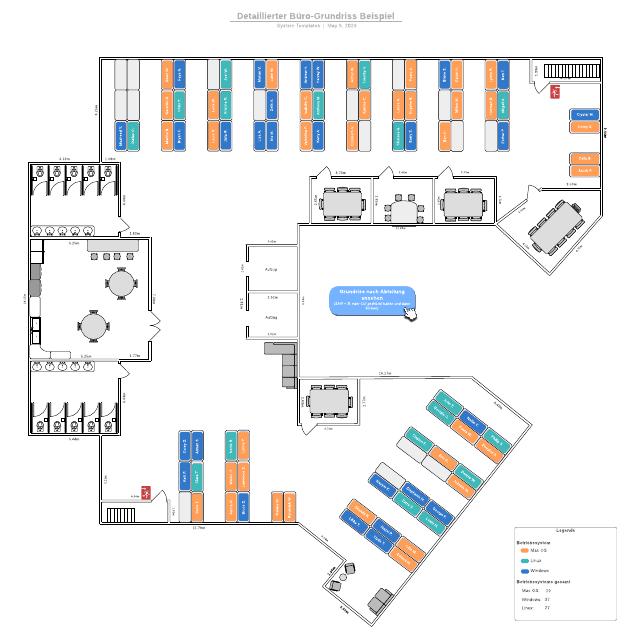 Detaillierter Büro-Grundriss Beispiel