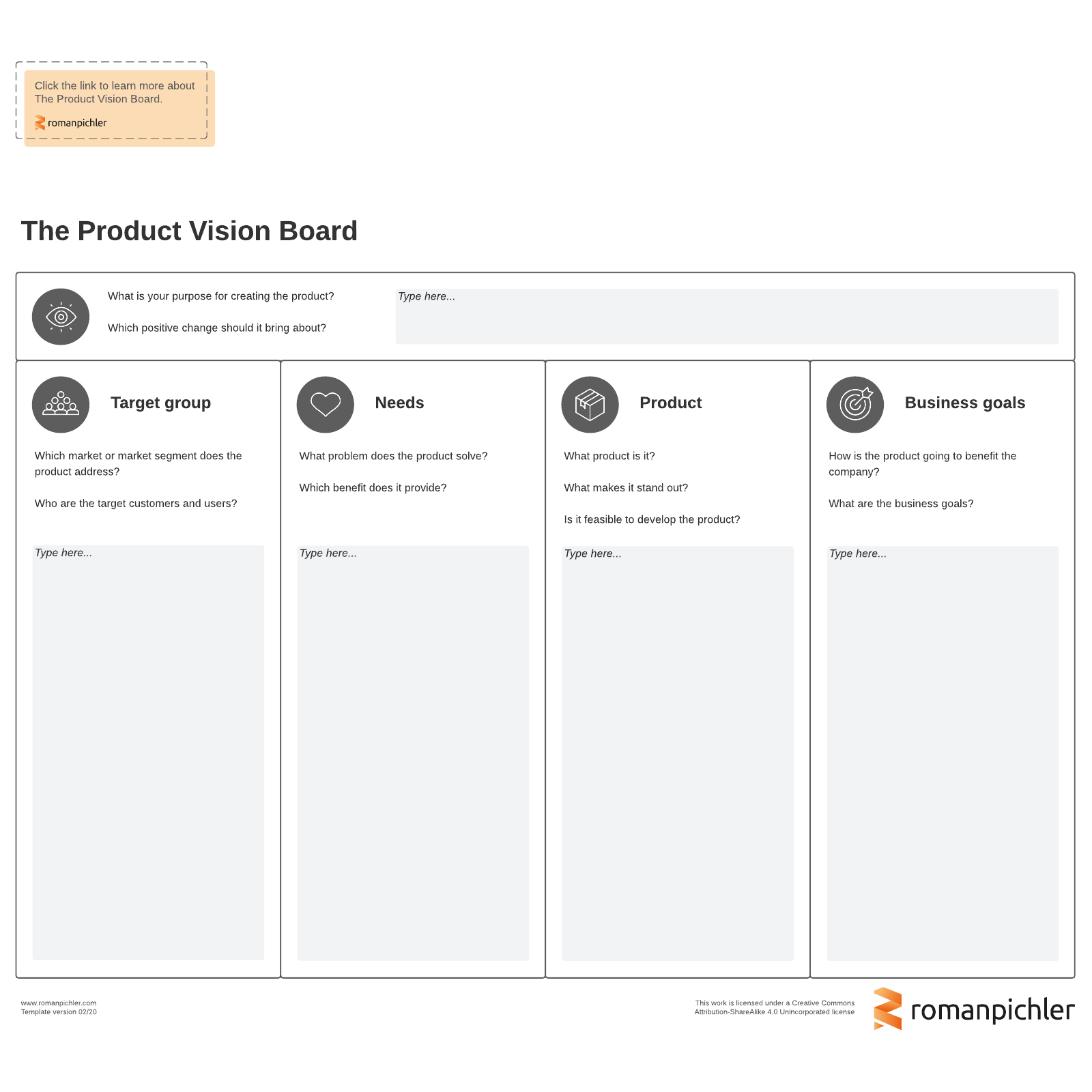product vision board template