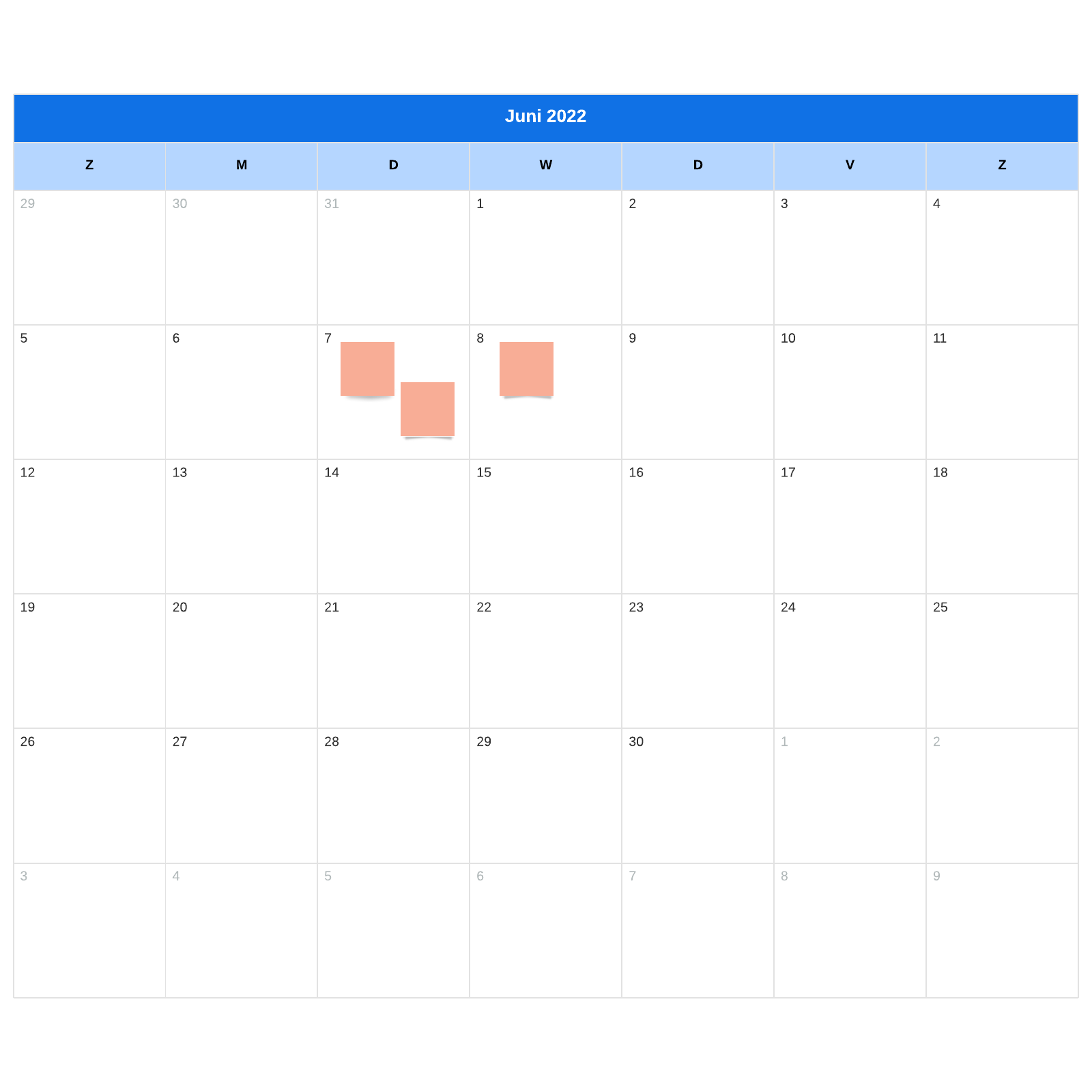 sjabloon maandkalender