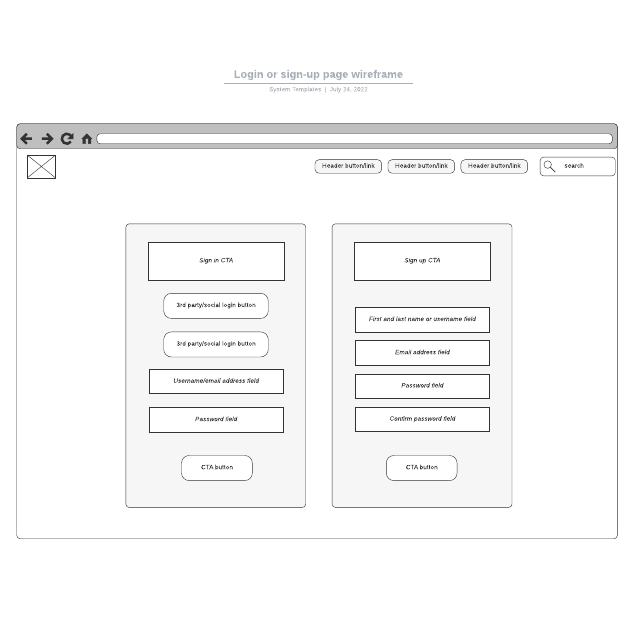 Login or sign-up page wireframe