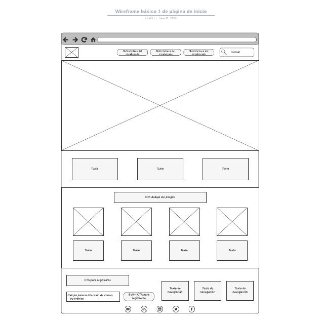 Wireframe básico 1 de página de inicio