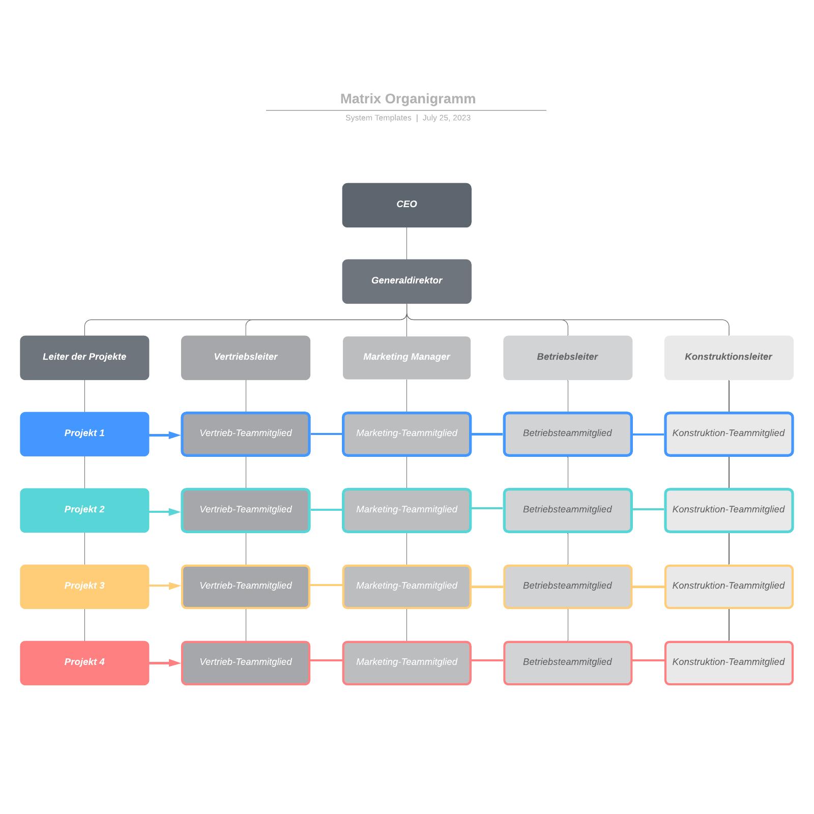 Matrix Organigramm Vorlage
