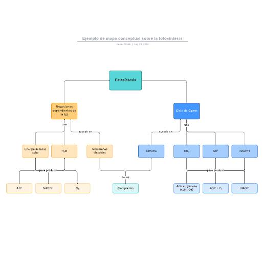 Ejemplo de mapa conceptual sobre la fotosíntesis