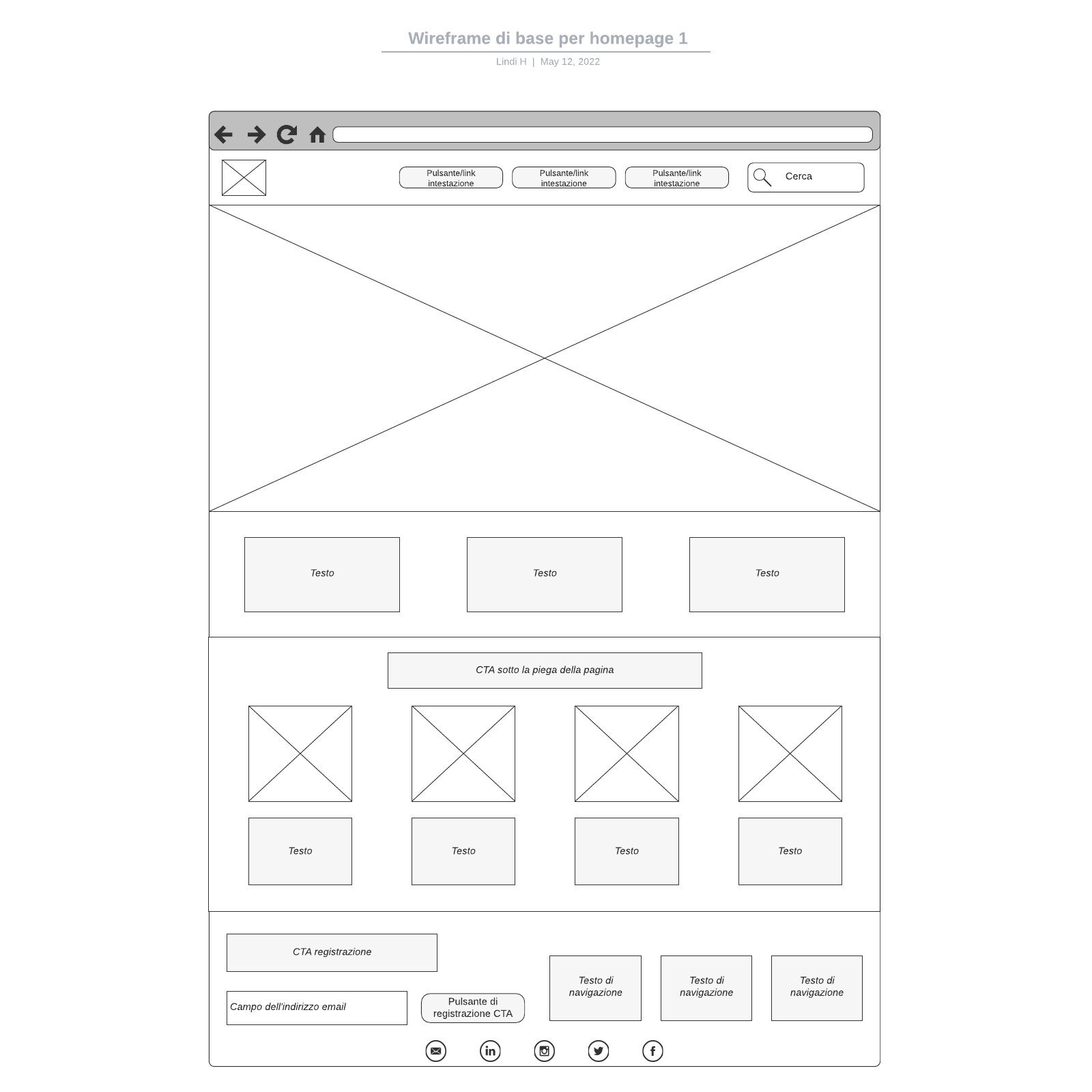 Wireframe di base per homepage 1