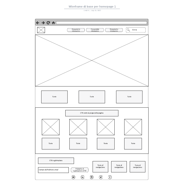 Wireframe di base per homepage 1