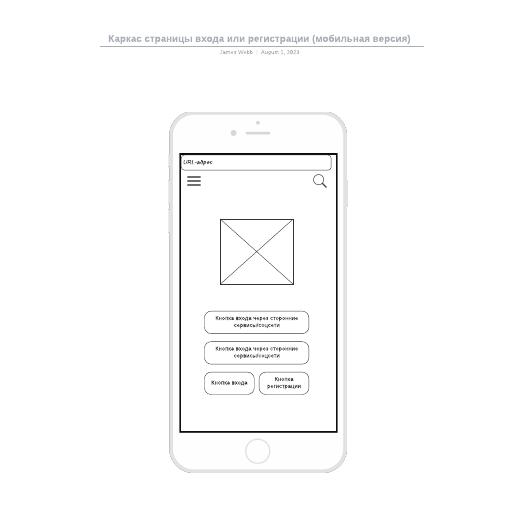 Каркас страницы входа или регистрации (мобильная версия)