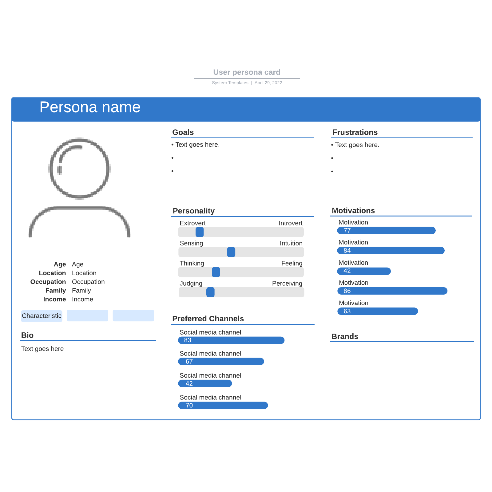 User persona card