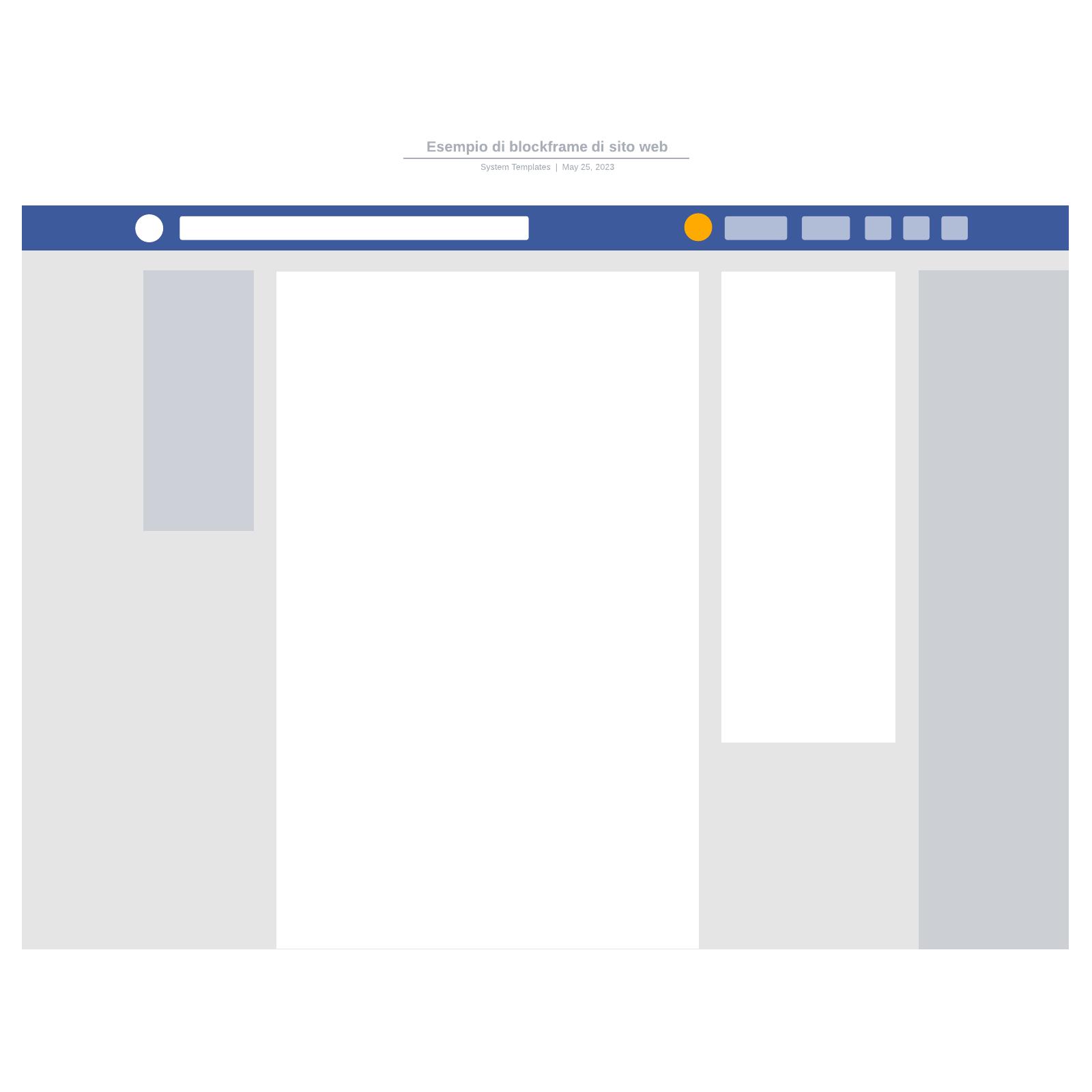 Esempio di blockframe di sito web