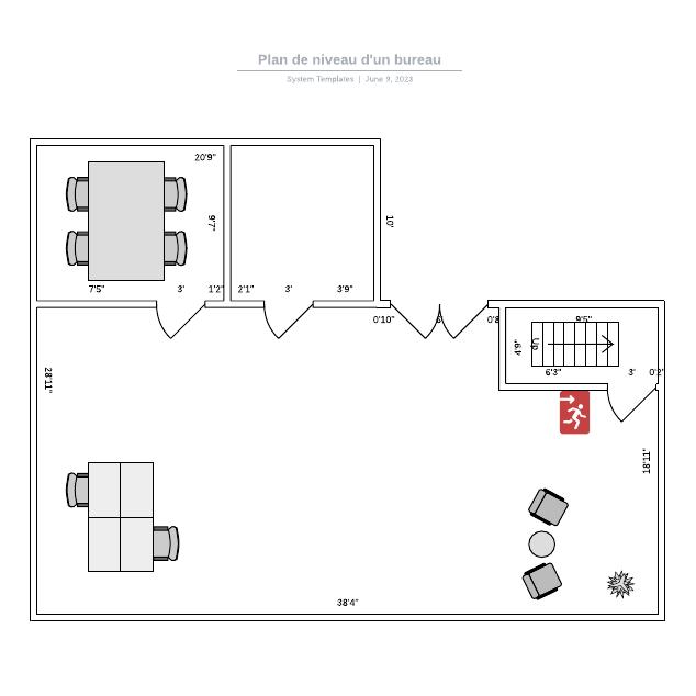 Plan de niveau d'un bureau