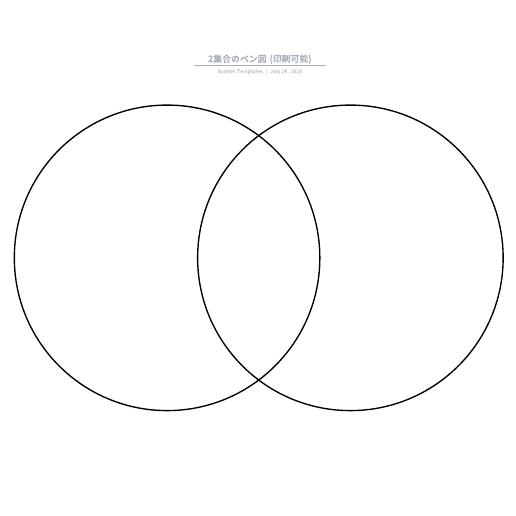 2集合のベン図 (印刷可能)なテンプレート