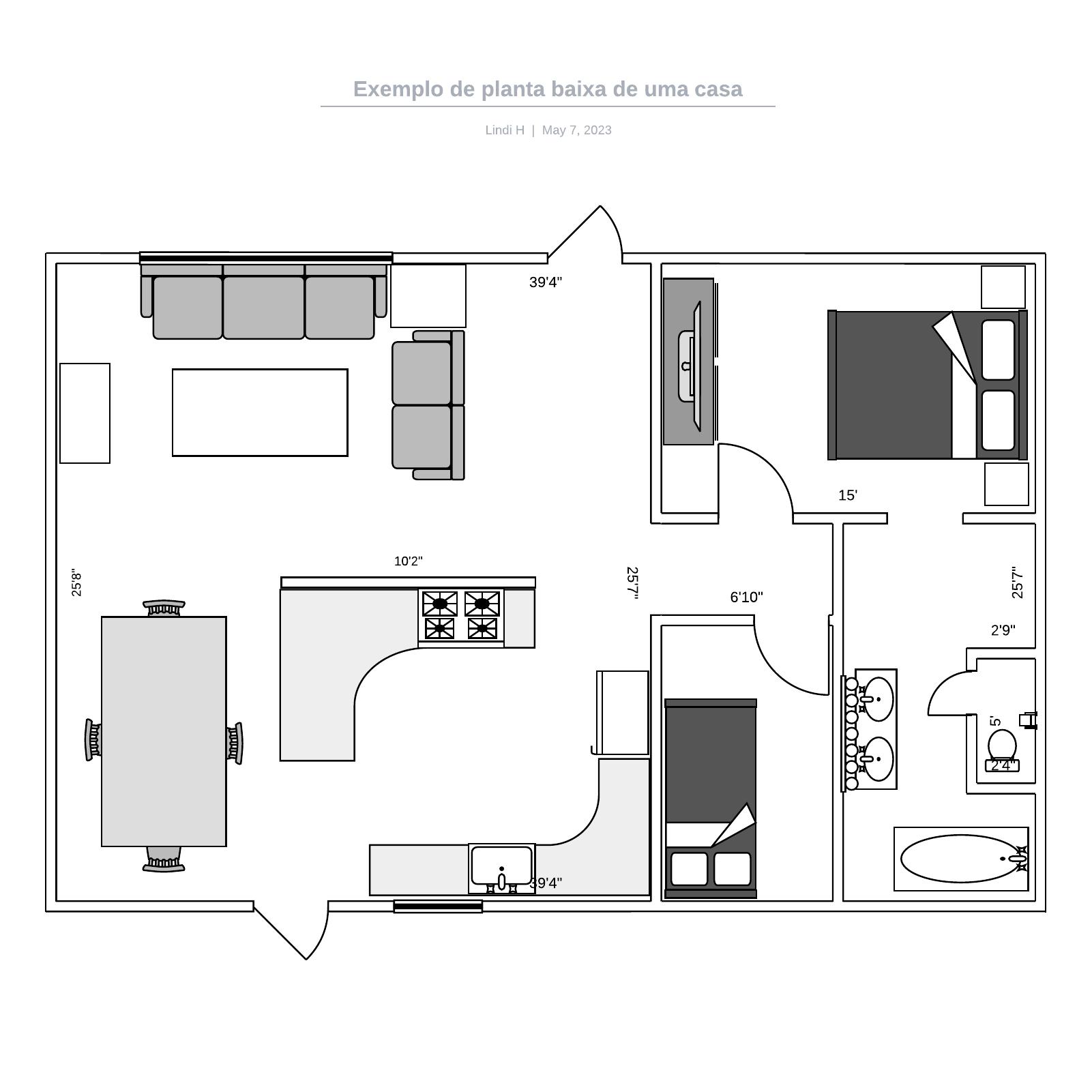 Exemplo de planta baixa de uma casa