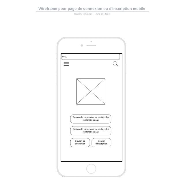 Wireframe pour page de connexion ou d'inscription mobile