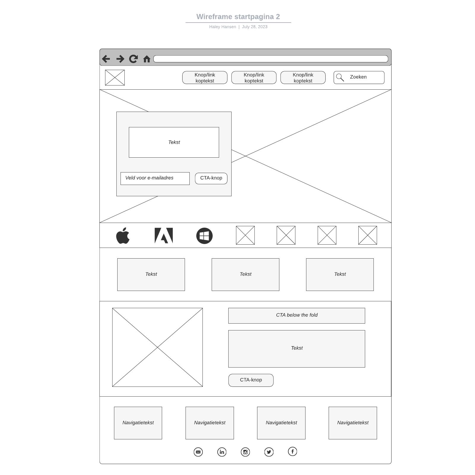 Wireframe startpagina