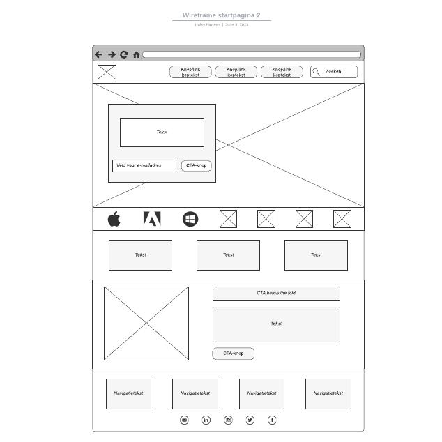 Wireframe startpagina 2